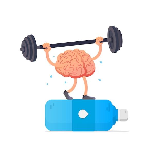 Ilustración del cerebro y botella de agua. Vector Premium