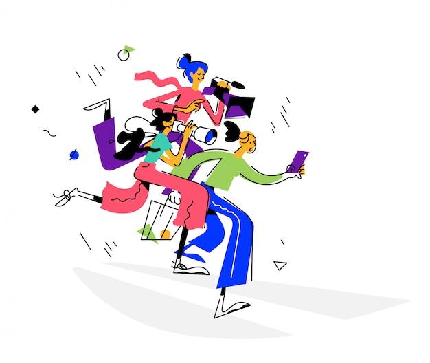 Ilustración de chicas bloggers. Vector Premium
