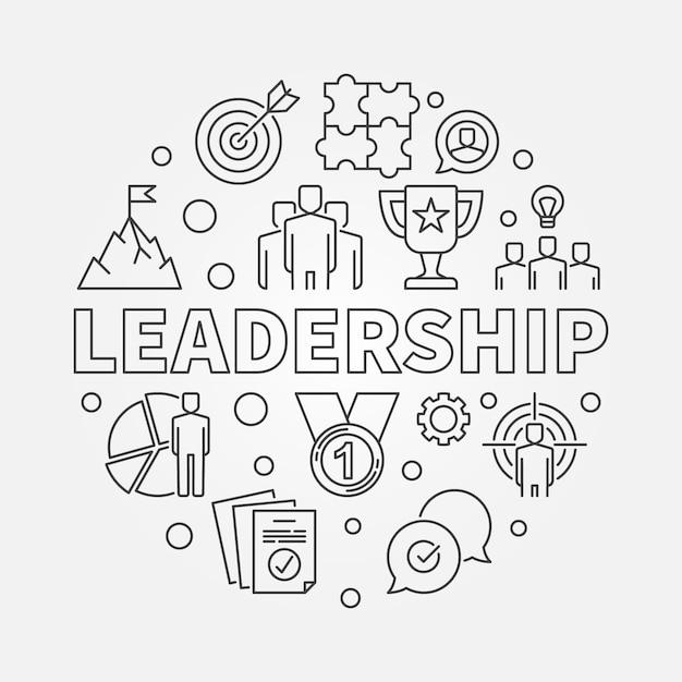 Ilustración circular de vector de liderazgo en estilo de contorno Vector Premium