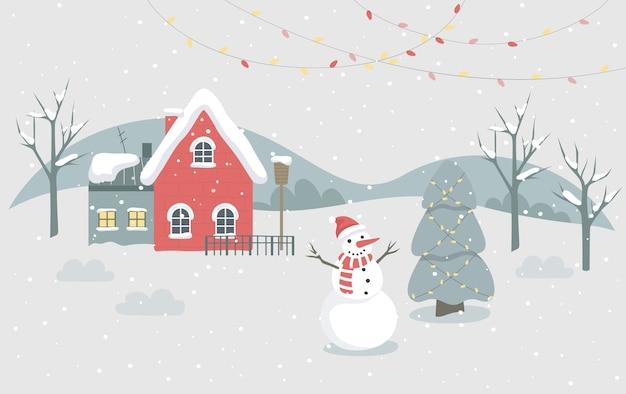 Ilustración de la ciudad de invierno de navidad. carácter festivo y decoración navideña. árbol de navidad con decoración tradicional, luces y muñeco de nieve. decoración de tarjetas de navidad Vector Premium