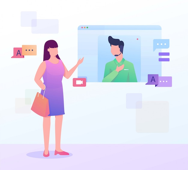 Ilustración del cliente de la página web del traductor | Vector Premium