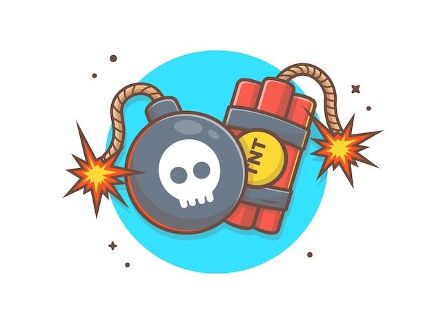 Ilustración de clip art de bomba y tnt vector Vector Premium