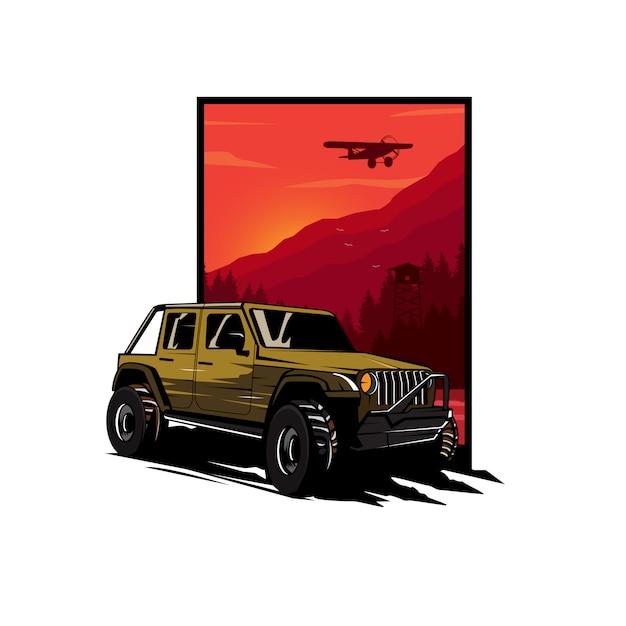 Ilustración de coche de aventura Vector Premium