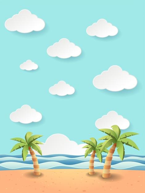 Ilustración de coco fantástico en el mar playa Vector Premium