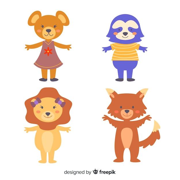 Ilustración de colección de animales de dibujos animados vector gratuito