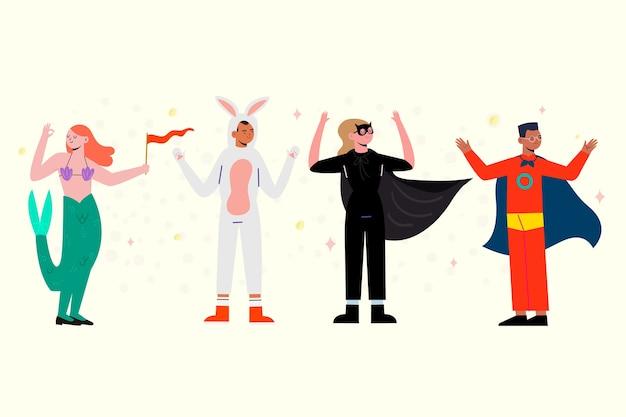 Ilustración de colección de bailarines de carnaval vector gratuito