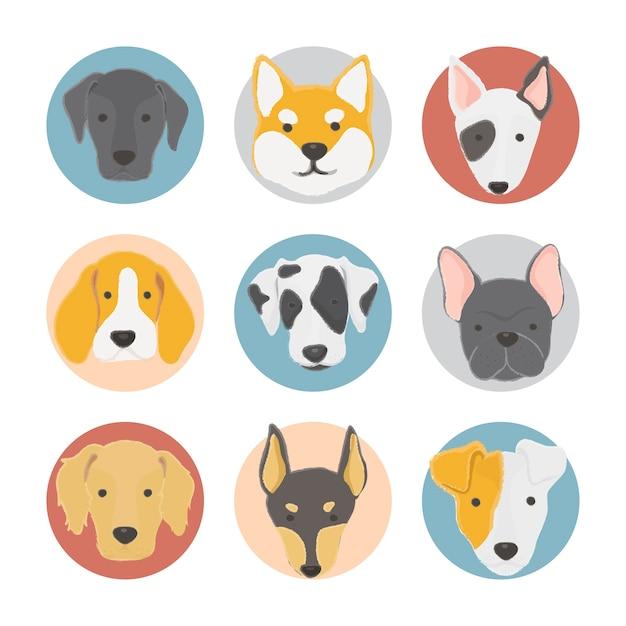 Ilustración de la colección de perros vector gratuito