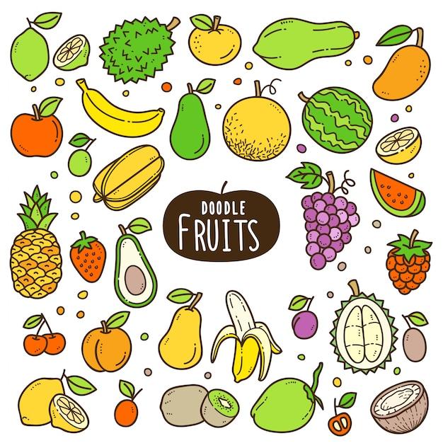 Ilustración de color de dibujos animados de frutas Vector Premium