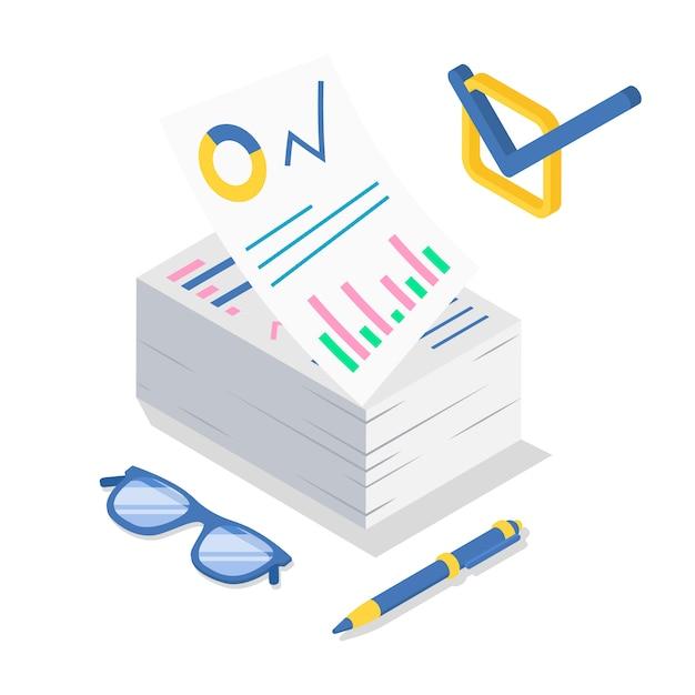 Ilustración de color isométrica de análisis empresarial. Vector Premium