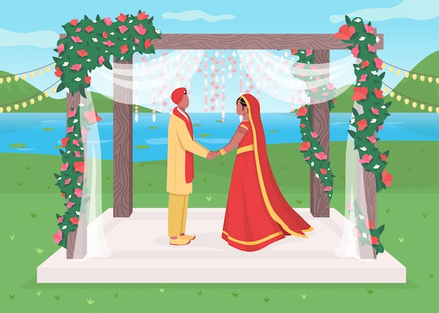 Ilustración de color plano de boda india Vector Premium