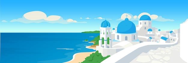 Ilustración de color plano de la ciudad costera griega. vacaciones de verano en grecia Vector Premium