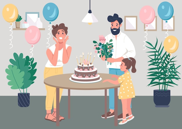 Ilustración de color plano de fiesta de cumpleaños sorpresa Vector Premium