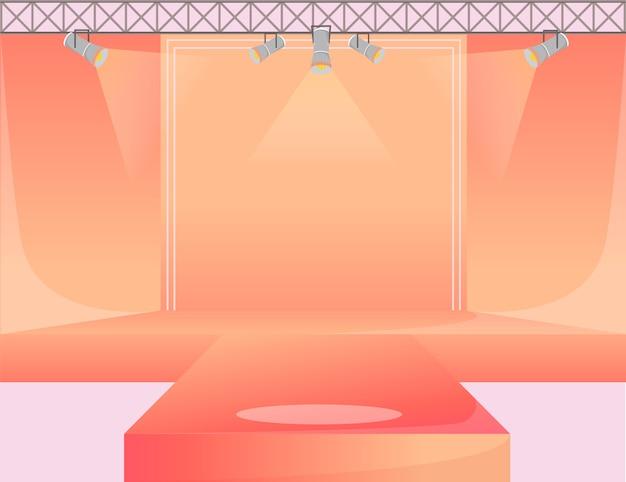 Ilustración de color de plataforma de pista naranja. escenario de podio vacío. pasarela con focos. área de demostración de la semana de la moda. presentación de nueva colección. fondo de desfiles de moda Vector Premium