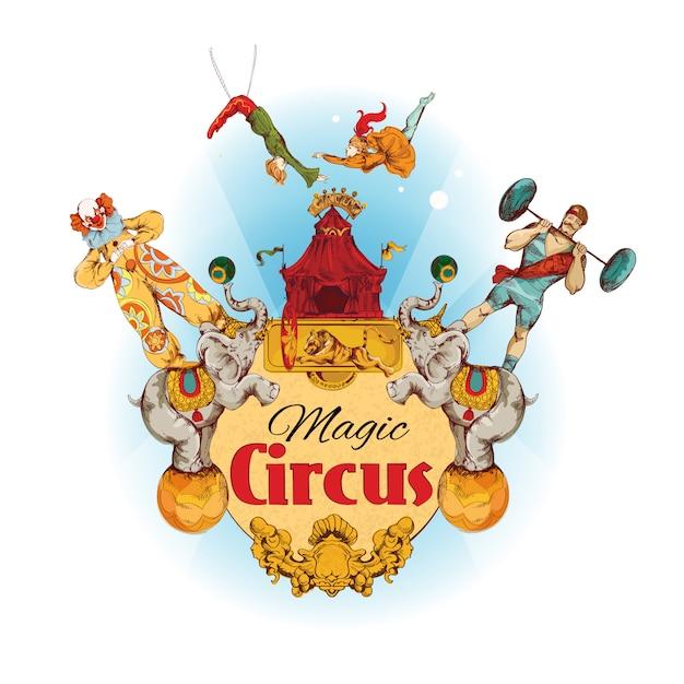 Ilustración coloreada circo mágico vintage vector gratuito
