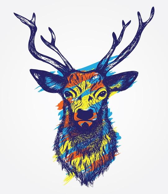 Ilustraci n colorida dibujada a mano de la cabeza de for Cabeza de ciervo