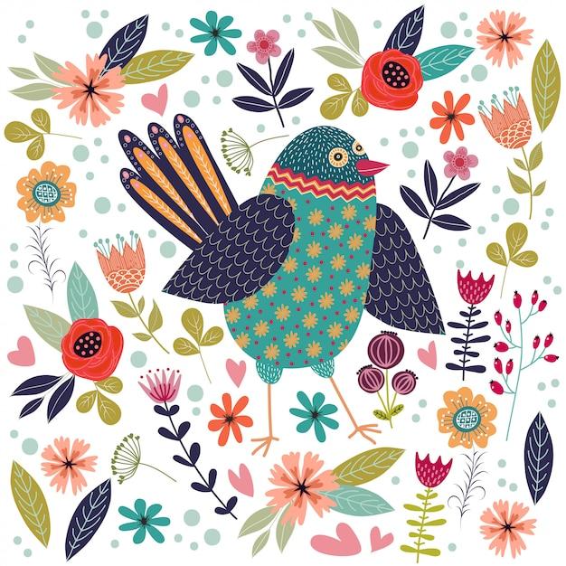 Ilustración colorida con hermoso pájaro popular abstracto y flores. Vector Premium