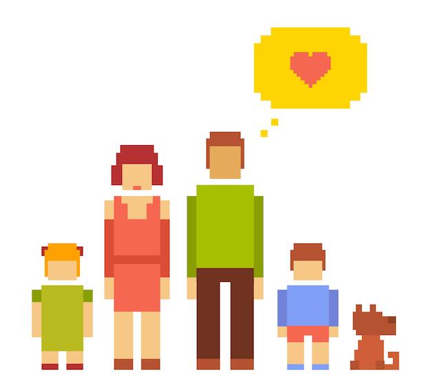 Ilustración colorida de la pequeña niña, niño, perro, mujer y hombre feliz pareja familiar sobre fondo blanco. familia de personas típicas unidas. pixel art retro de la familia moderna Vector Premium