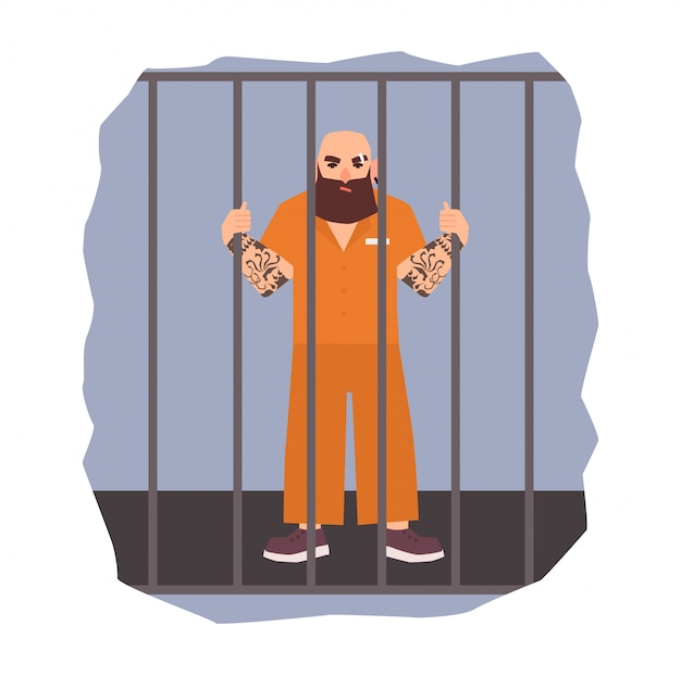Ilustración colorida con prisionero masculino bajo arresto. hombre enojado con celda de hierro. ilustración plana Vector Premium