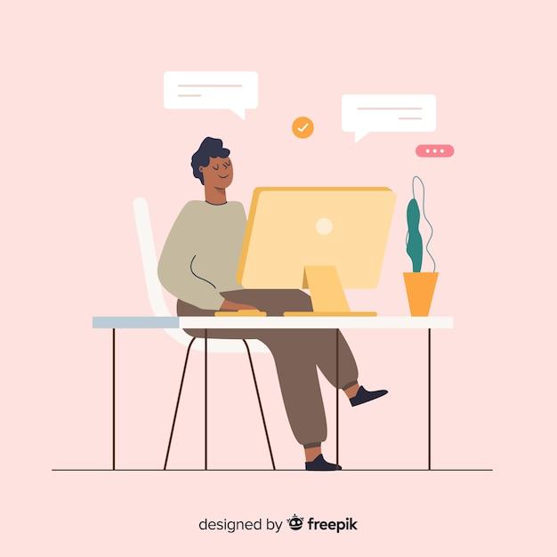 Ilustración colorida del programador haciendo su trabajo vector gratuito