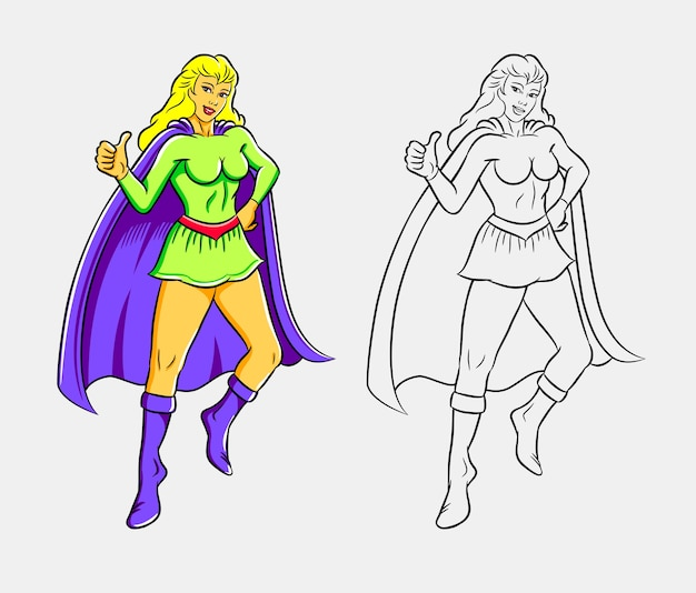 Ilustración Colorida Supergirl Vector Premium
