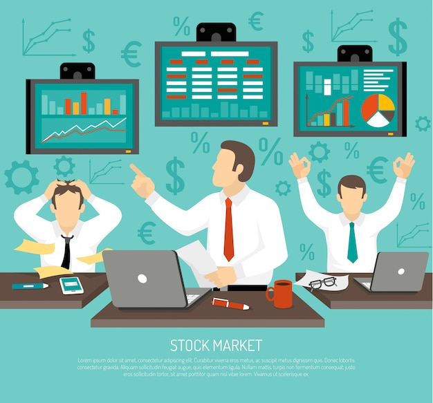 Ilustración del comerciante del mercado de valores vector gratuito