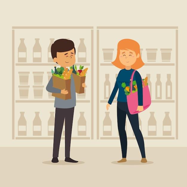 Ilustración de comestibles de compras de diseño plano vector gratuito