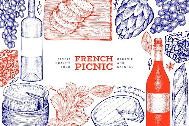 Ilustración de comida francesa. ilustraciones de comida de picnic dibujadas a mano. bandera de bocadillos y vinos diferentes de estilo grabado. fondo de comida vintage. Vector Premium