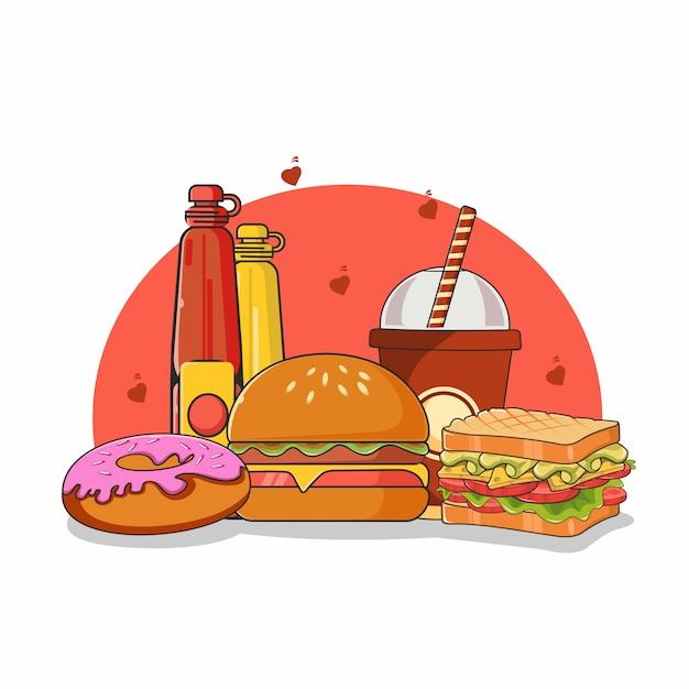 Ilustración de comida rápida Vector Premium