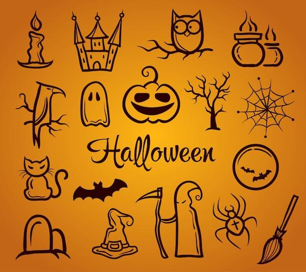 Ilustración de composición gráfica retro con elementos de halloween Vector Premium