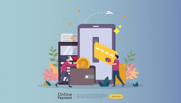 Ilustración de compras en línea de mercado de comercio electrónico con carácter de personas pequeñas. Vector Premium