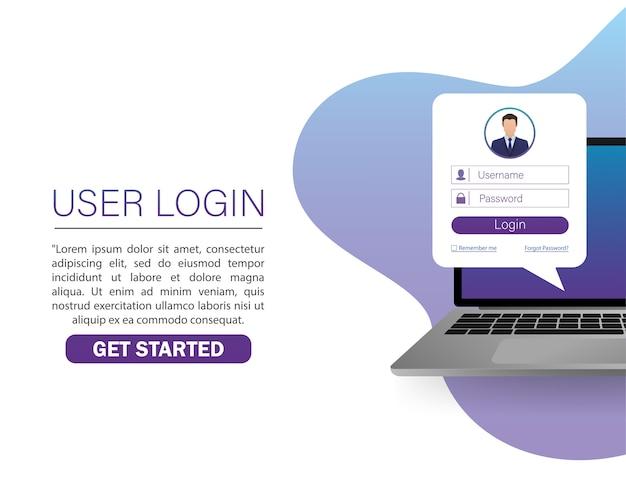 Ilustración con la computadora portátil de inicio de sesión de usuario. ,. ilustración del icono de computadora portátil. Vector Premium
