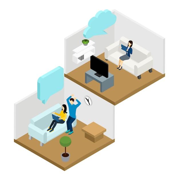 Ilustración de comunicación de amigos vector gratuito