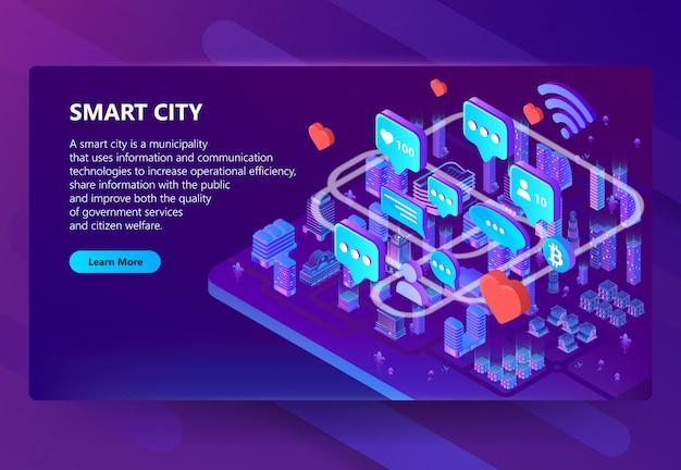 Ilustración de comunicación de ciudad inteligente vector gratuito