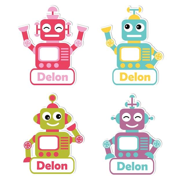 Ilustración con coloridos juguetes de robot adecuados para el diseño ...