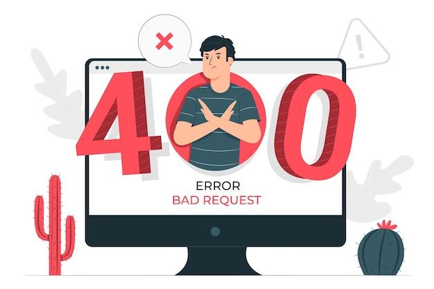 Ilustración del concepto de400 error solicitud incorrecta vector gratuito