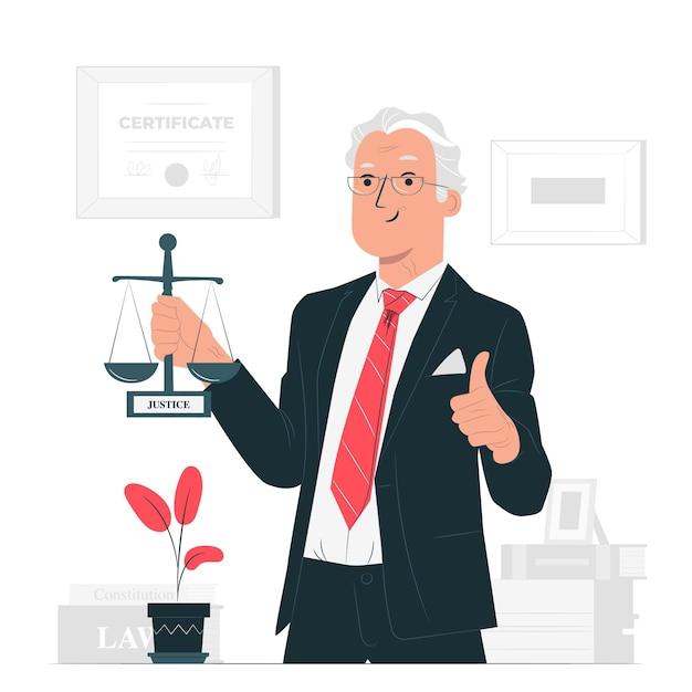 Ilustración del concepto de abogado vector gratuito