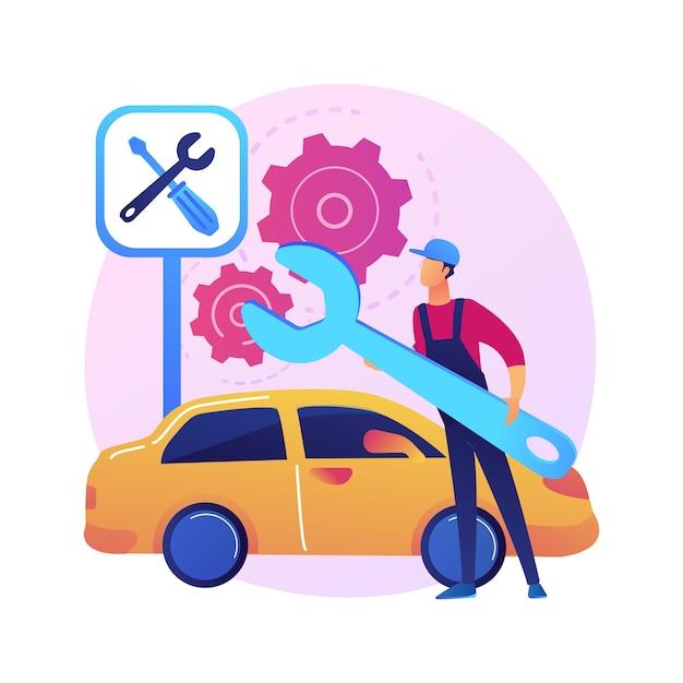 Ilustración de concepto abstracto de servicio de coche. taller de reparación de automóviles, negocio de detallado y mantenimiento de vehículos, servicio de reparación de automóviles, diagnóstico de motores, reparación de transporte. vector gratuito