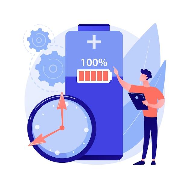 Ilustración de concepto abstracto de tiempo de ejecución de batería vector gratuito