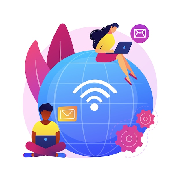 Ilustración de concepto abstracto de trabajo a distancia. oficina a distancia, trabajo desde casa, posibilidad de trabajo remoto, tecnología de comunicación, reunión de equipo en línea, nómada digital vector gratuito