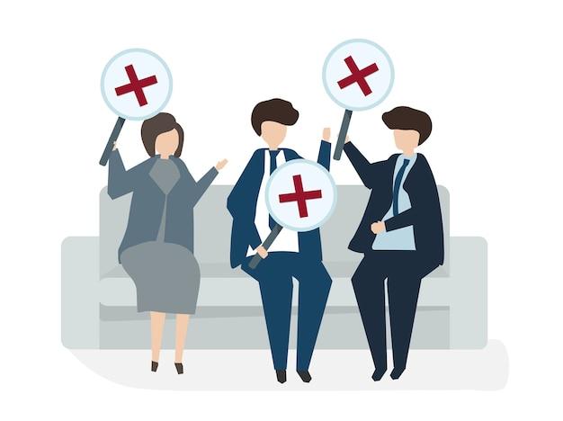 Ilustración del concepto de acuerdo de negocio de avatar de personas vector gratuito