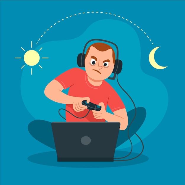 Ilustración del concepto de adicción a los juegos en línea vector gratuito