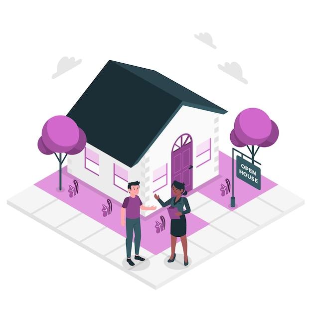 Ilustración del concepto de agente inmobiliario vector gratuito