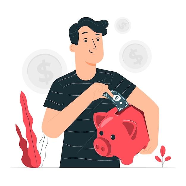 Ilustración del concepto de ahorros vector gratuito