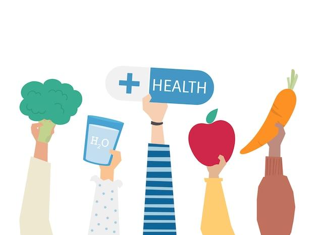 Ilustración del concepto de alimentación saludable vector gratuito
