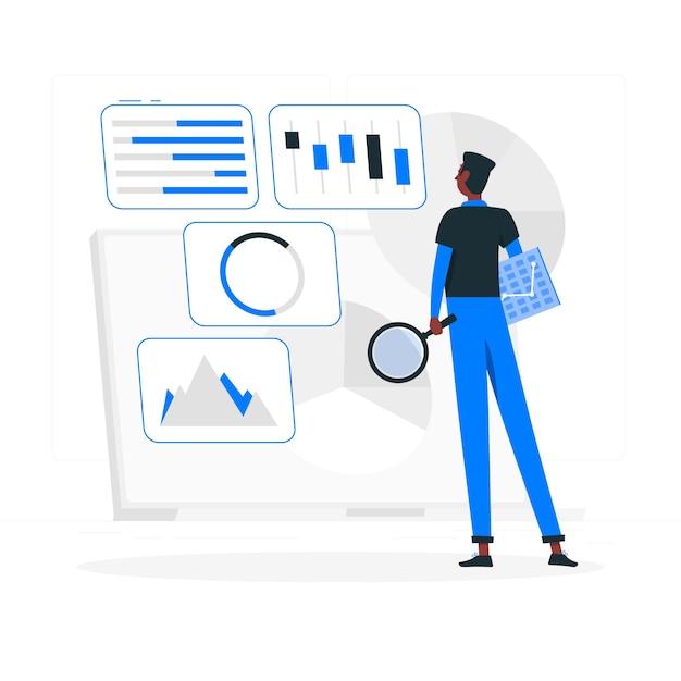 Ilustración del concepto de análisis de configuración vector gratuito