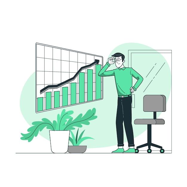 Ilustración del concepto de análisis de crecimiento vector gratuito