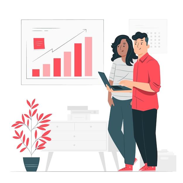 Ilustración del concepto de analítica de crecimiento vector gratuito