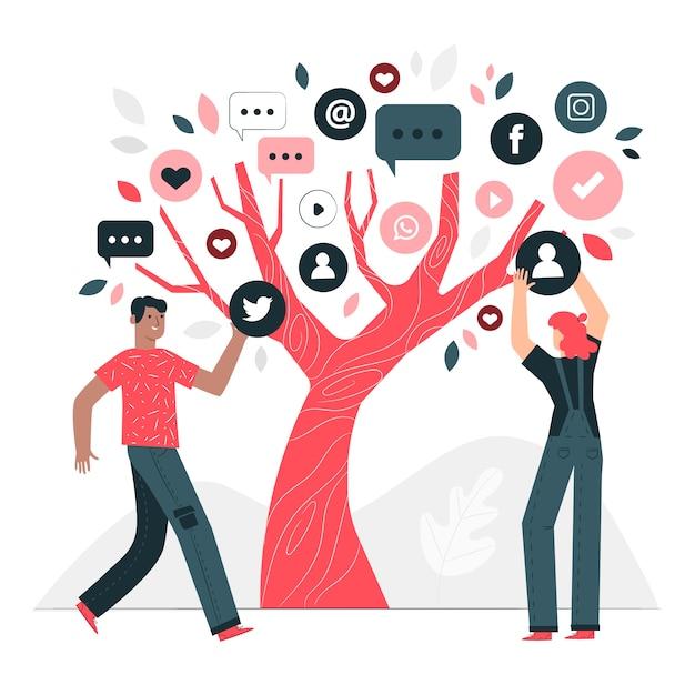 Ilustración del concepto de árbol de redes sociales vector gratuito