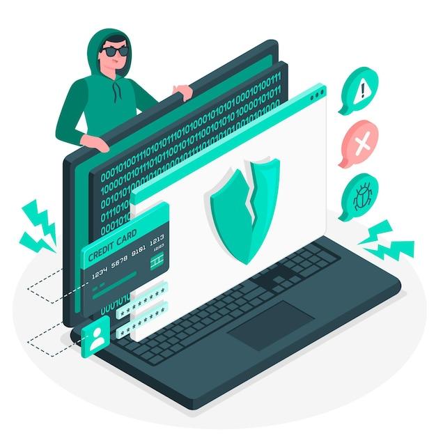 Ilustración del concepto de ataque cibernético vector gratuito