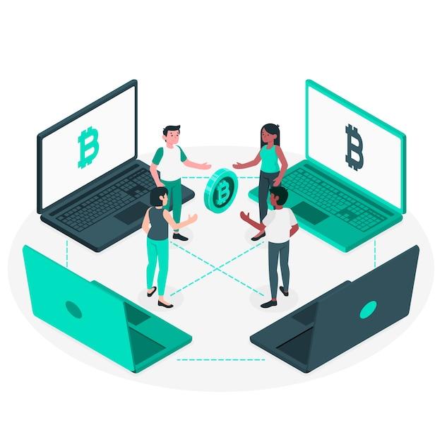 Ilustración de concepto de bitcoin p2p vector gratuito